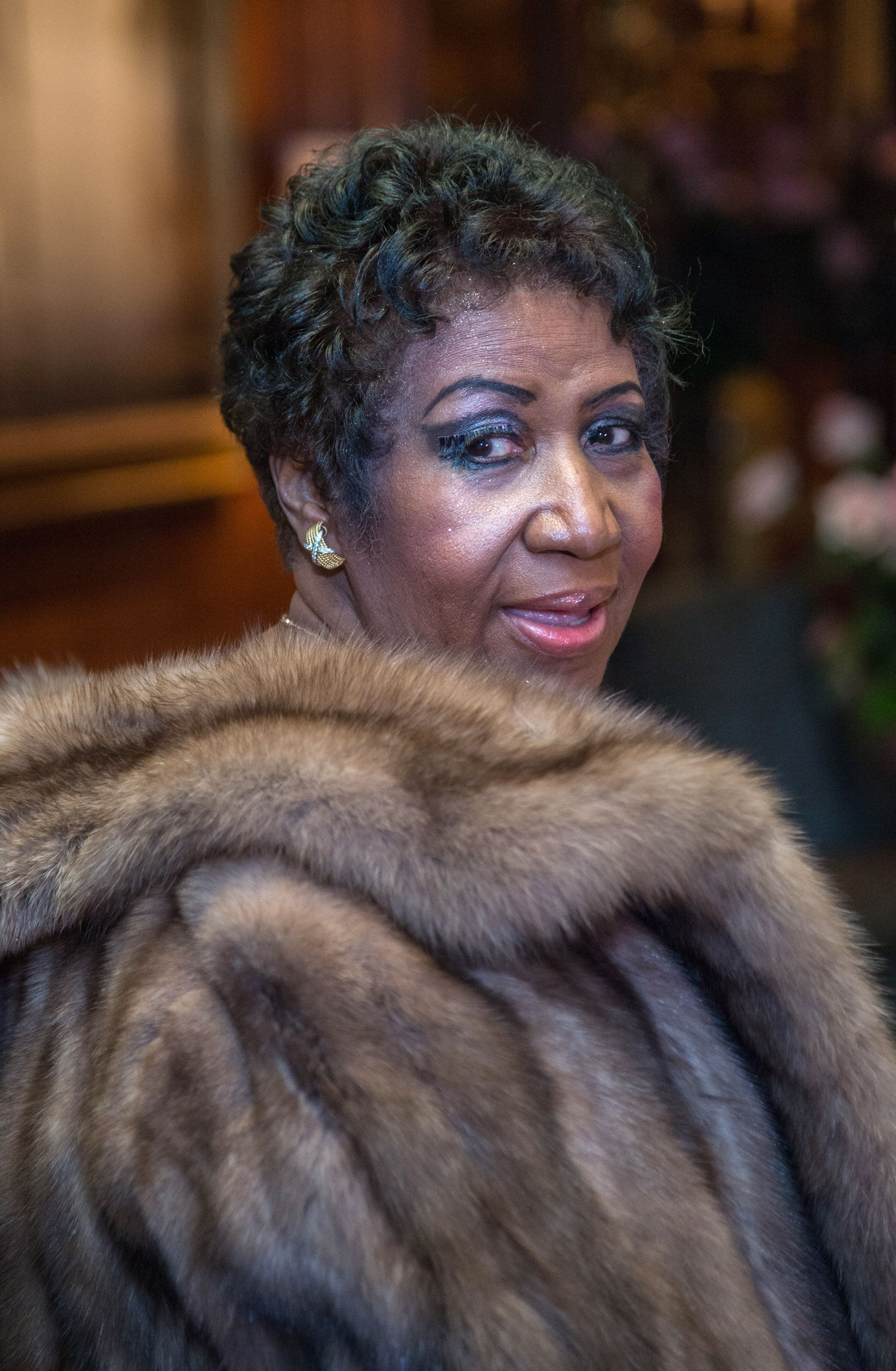 NEW YORK, NY - MARCH 22:  Singer Aretha Franklin attends the Aretha Franklin Birthday Celebration at the Ritz Carlton Hotel on March 22, 2015 in New York City.  (Photo by Mark Sagliocco/FilmMagic)