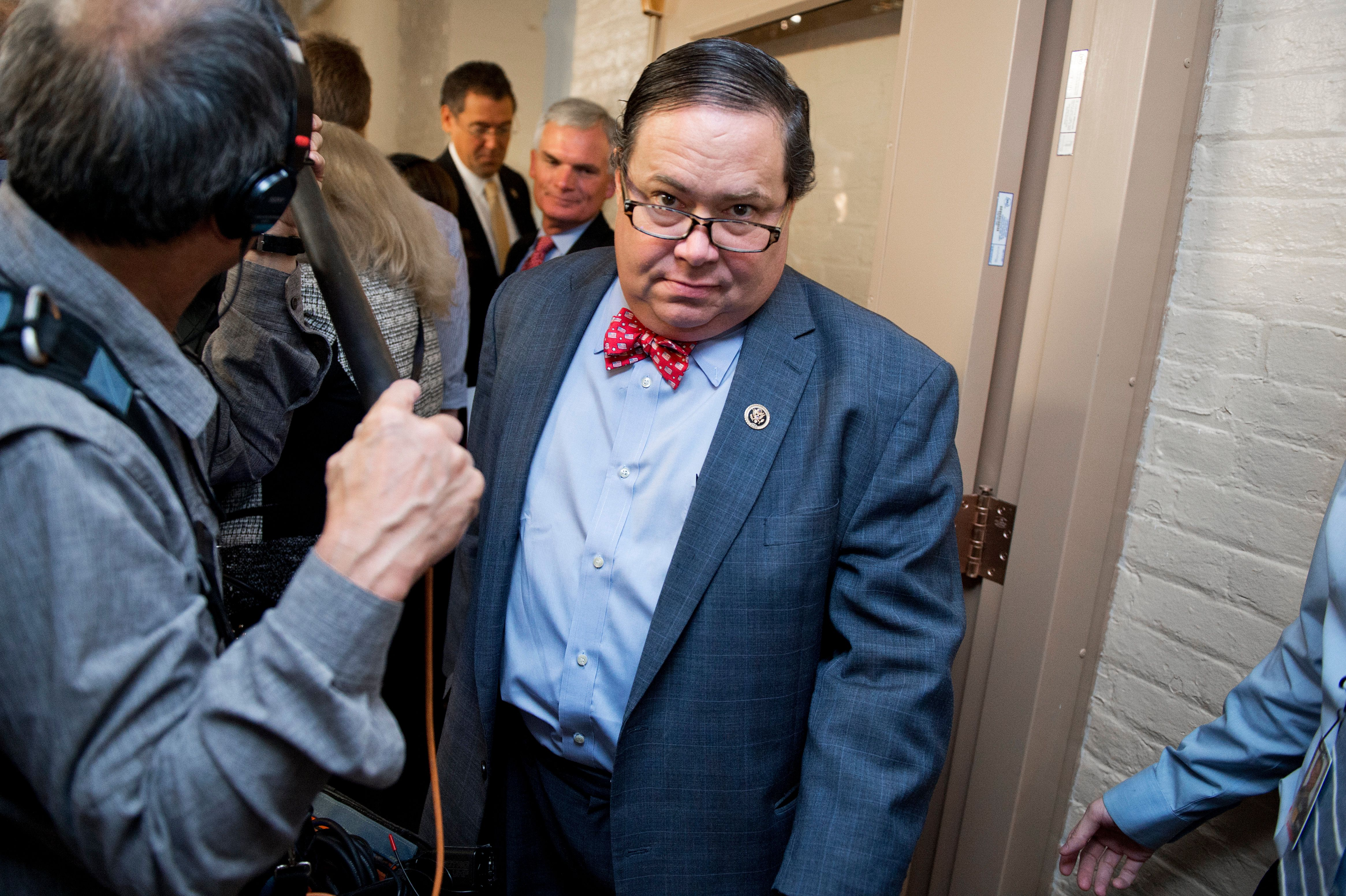UNITED STATES - OCTOBER 27: Rep. Blake Farenthold, R-Texas, leaves a meeting of the House Republican Conference in the Capitol, October 27, 2015. (Photo By Tom Williams/CQ Roll Call)