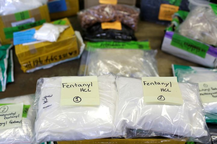 Plastic bags of fentanyl are displayed at a U.S. Customs and Border Protection area at O'Hare International Airport in Chicag