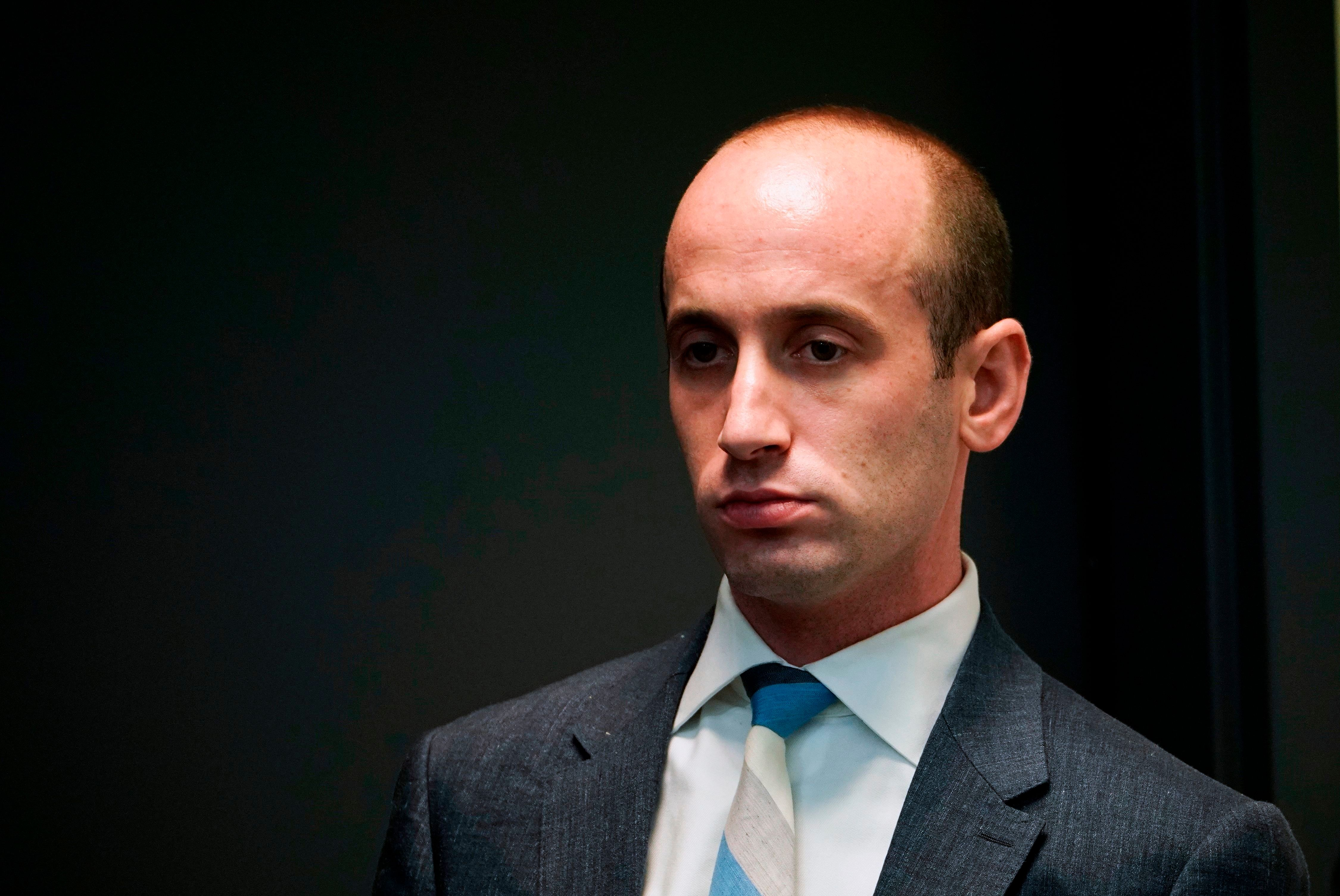 Senior Advisor to the president Stephen Miller is seen during an immigration event with US President Donald Trump in the South Court Auditorium, next to the White House, on June 22, 2018 in Washington, DC. (Photo by MANDEL NGAN / AFP)        (Photo credit should read MANDEL NGAN/AFP/Getty Images)