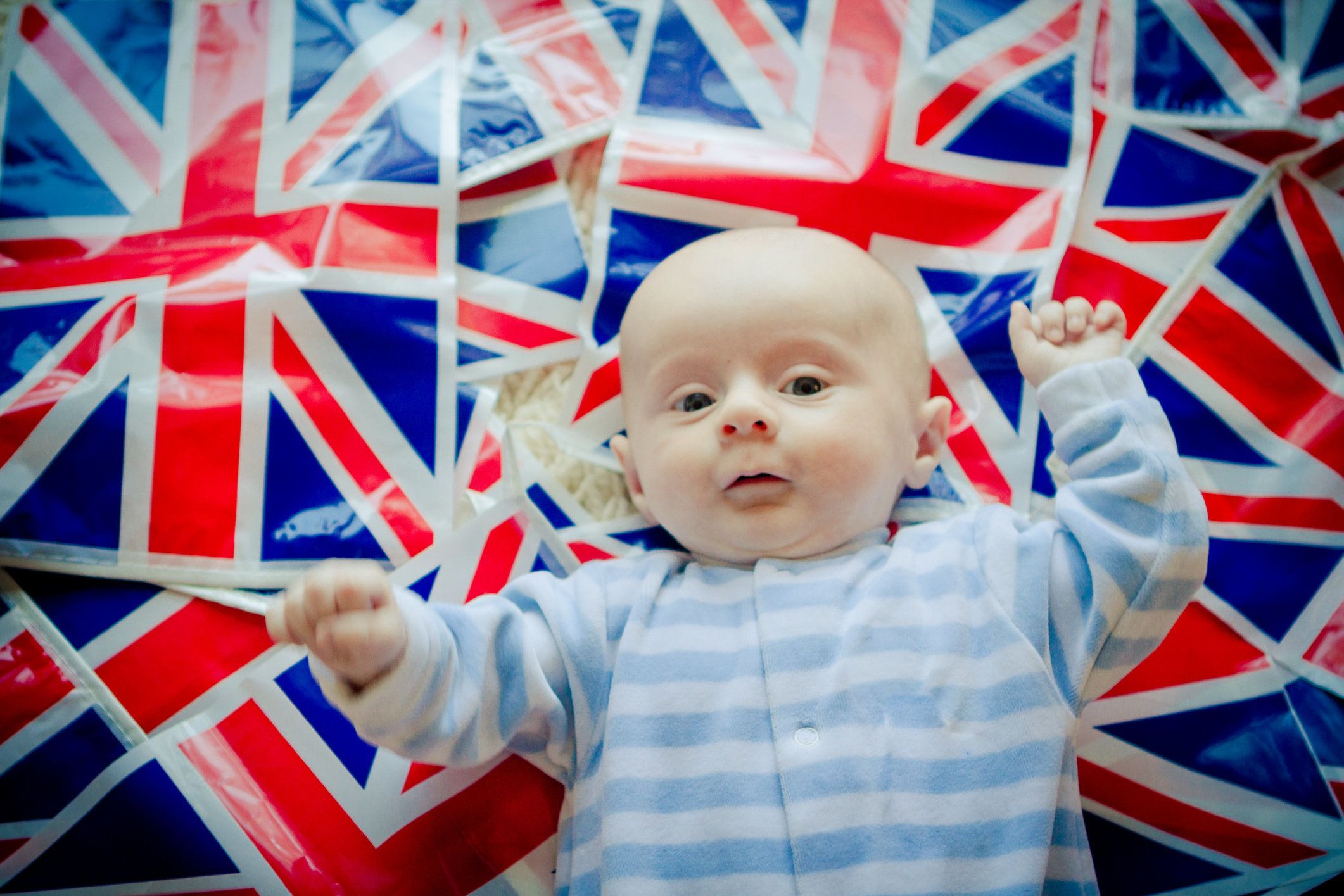 Baby celebrating the royal wedding