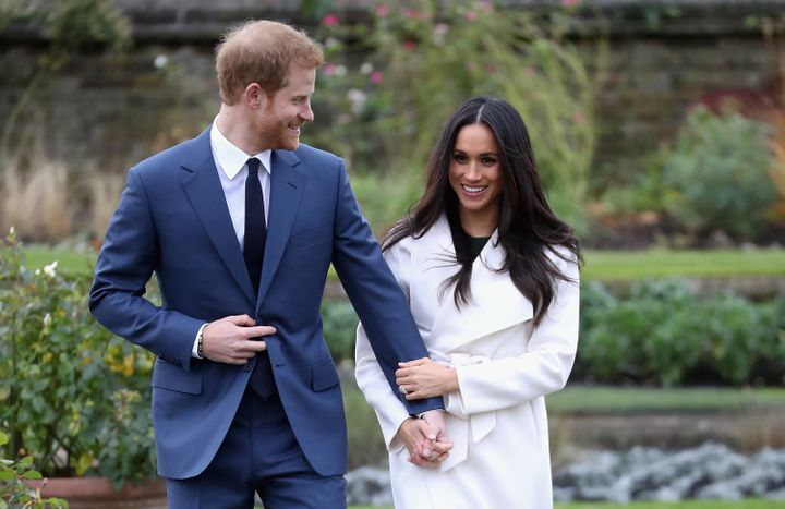 Prince Harry and Meghan Markle announce their engagement at Kensington Palace on Nov. 27, 2017.