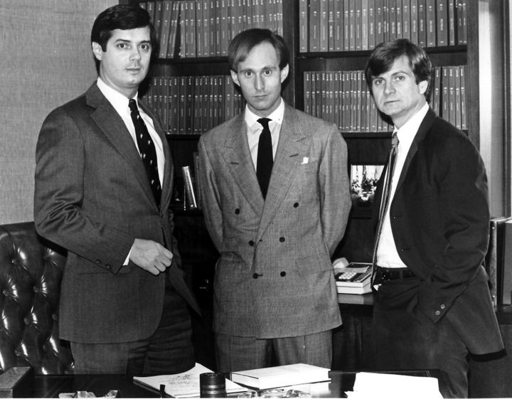 Paul Manafort (left) and Roger Stone (center) pictured with Lee Atwater (right), the newest hire for their firm Black, Manafo
