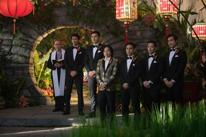 """The men of """"Crazy Rich Asians"""" during the wedding of Araminta and Colin."""