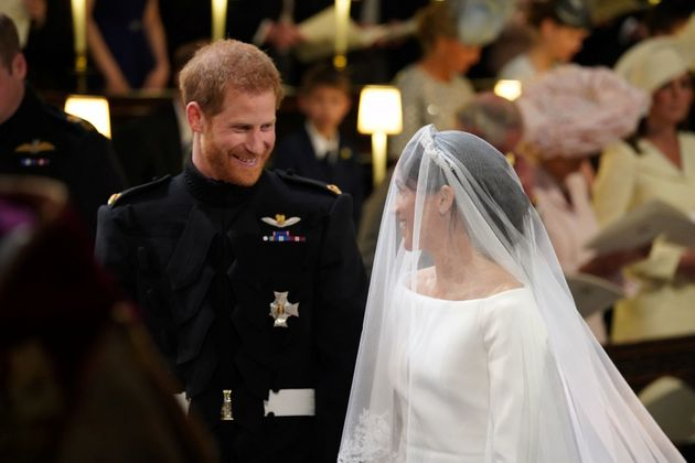 Prince Harry and Meghan Markle at their wedding at St. George's Chapel at Windsor Castle on May 19,