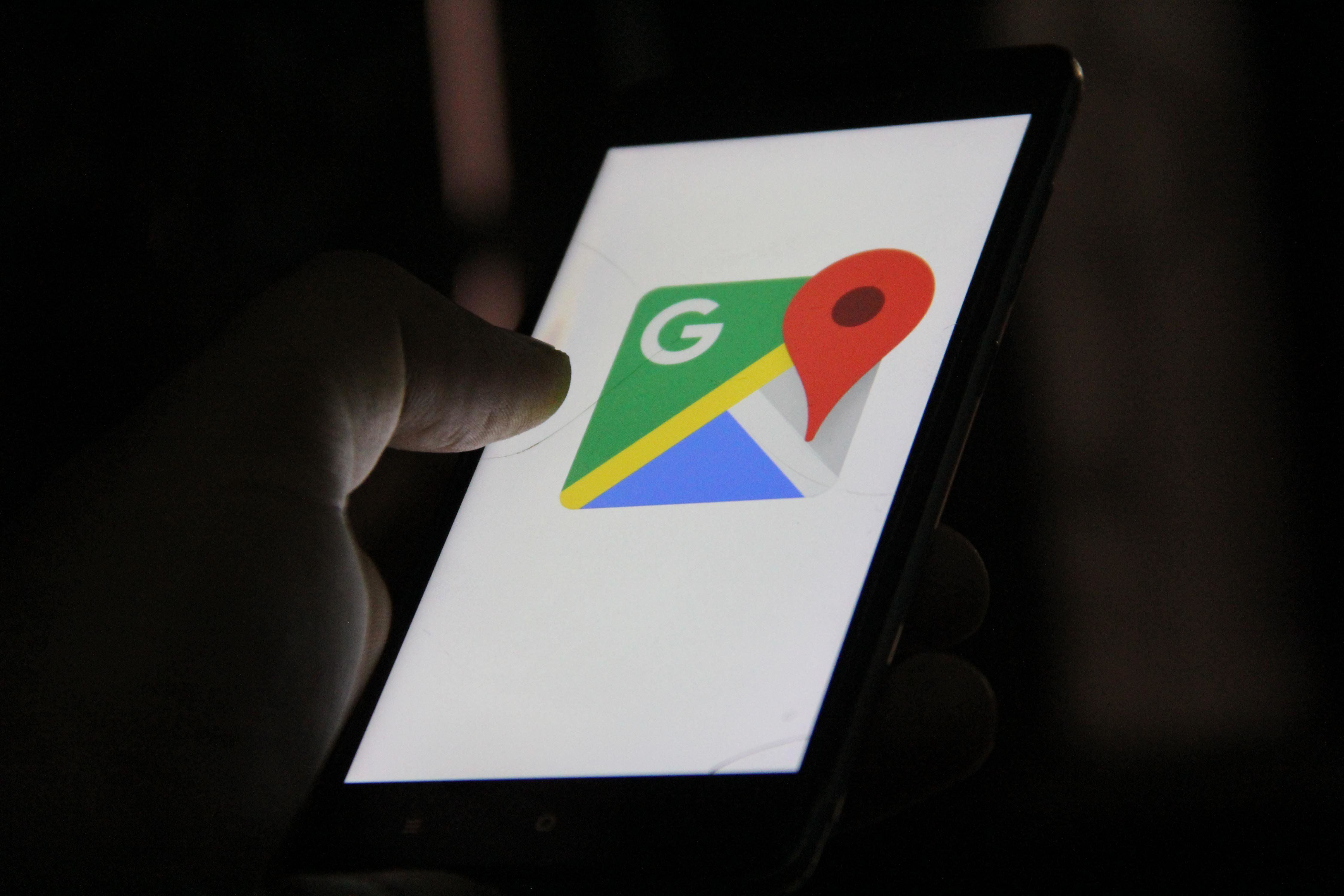 Google Maps, Mobile App can be seen on a mobile phone.  (Photo by Nasir Kachroo/NurPhoto via Getty Images)