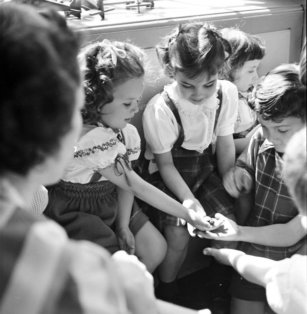 As their instruction begins in 1948, students at the Lucy D. Anthony school examine a small turtle.