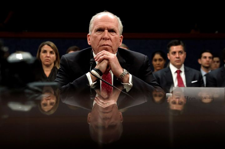 Former CIA Director John Brennan testifies in May 2017 before the House Intelligence Committee on Russian interference in the 2016 election campaign.