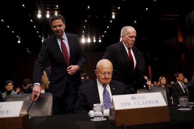 (왼쪽부터) 제임스 코미 전 연방수사국(FBI) 국장, 제임스 클래버 전 국가정보국(DNI) 국장, 존 브레넌 전 중앙정보국(CIA)