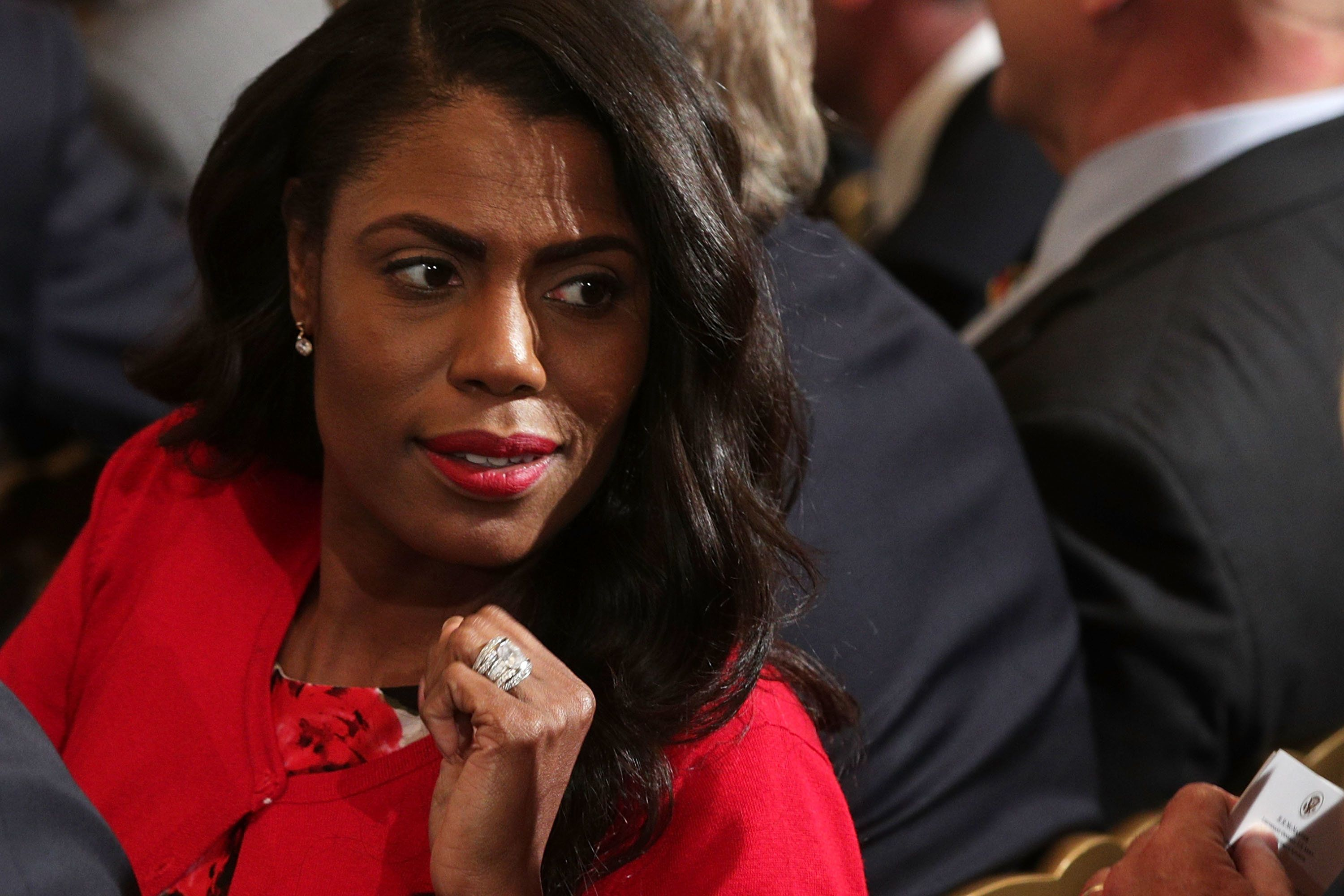 WASHINGTON, DC - OCTOBER 12:  Director of Communications for the White House Public Liaison Office Omarosa Manigault  attends a nomination announcement at the East Room of the White House October 12, 2017 in Washington, DC. President Donald Trump has nominated Nielsen to be the next homeland security secretary, the position that has left vacant by Chief of Staff John Kelly.  (Photo by Alex Wong/Getty Images)