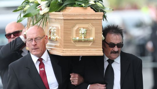 SUPPORT: Paul Chuckle Carries Brother Barry's Coffin As Hundreds Turn Out For