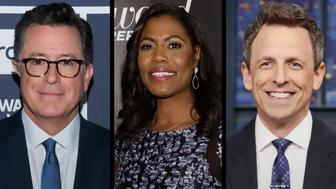Seth Meyers and Stephen Colbert poked fun at Omarosa Manigault-Newmans latest tape release
