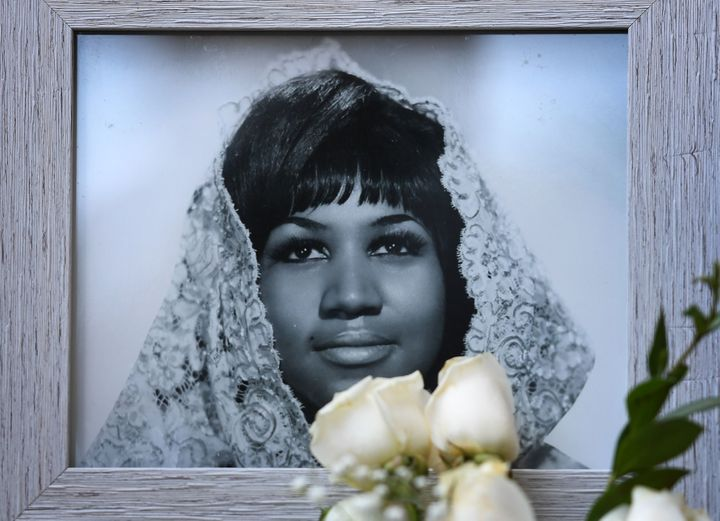 Flowers and tributes are placed on Aretha Franklin's star on the Hollywood Walk of Fame in Hollywood, California, on Aug. 16.
