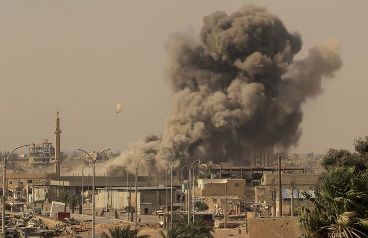 Smoke rises after an airstrike during fighting in Raqqa, Syria, in August last year.
