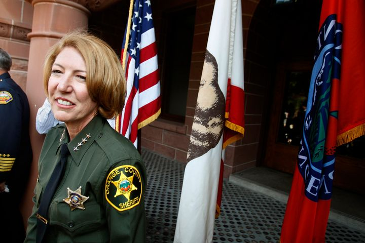 Orange County Sheriff Sandra Hutchens at her swearing-in on June 24, 2008, in Santa Ana, California. Her department