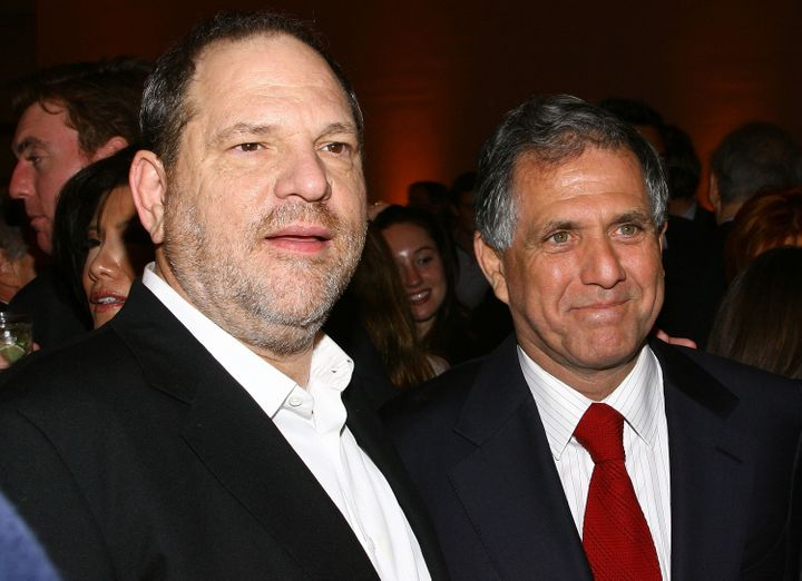 Now-disgraced Hollywood producer Harvey Weinstein, left, with CBS chief Les Moonves in May 2008.