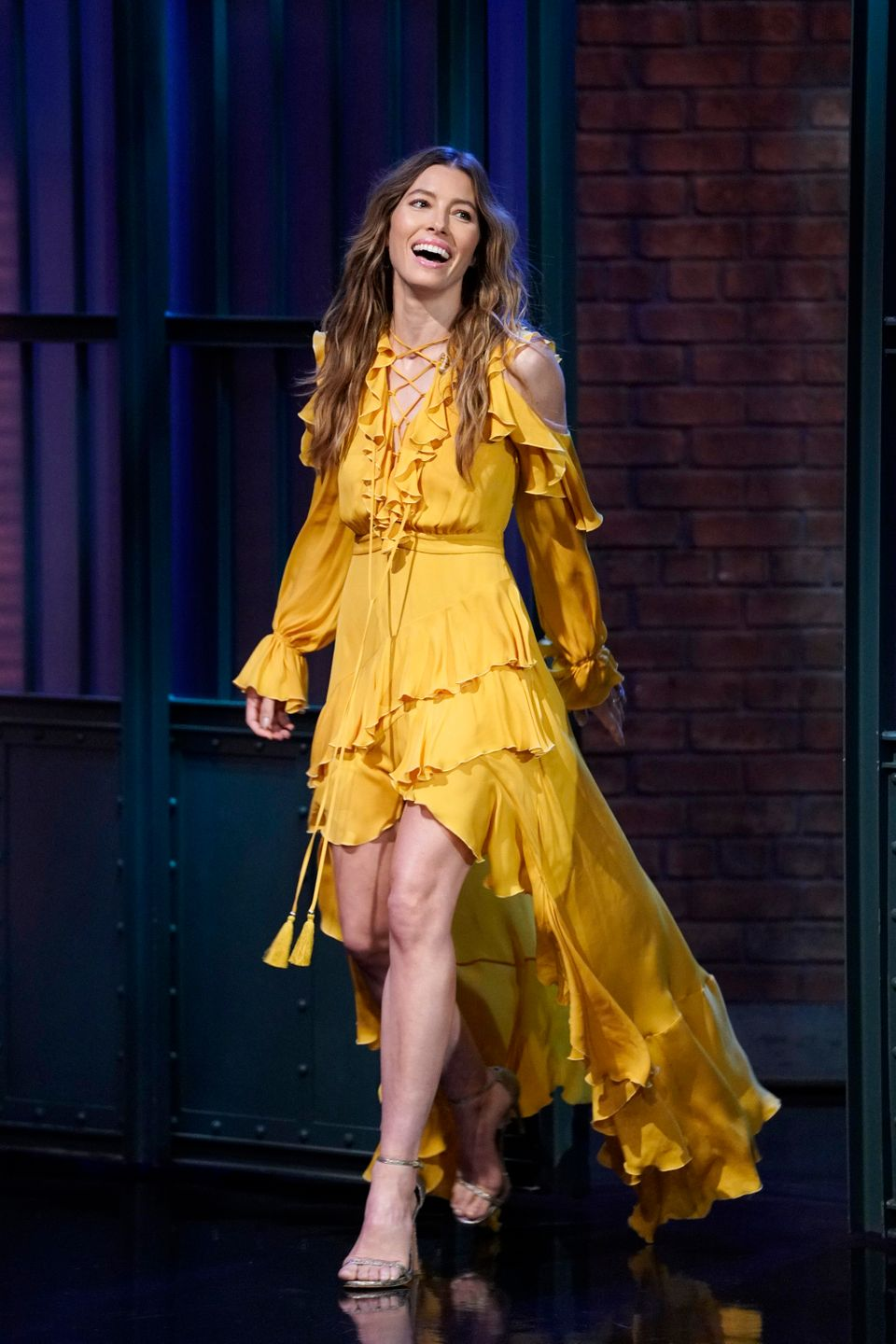 LATE NIGHT WITH SETH MEYERS -- Episode 725 -- Pictured: Actress Jessica Biel arrives on August 16, 2018 -- (Photo by: Lloyd B