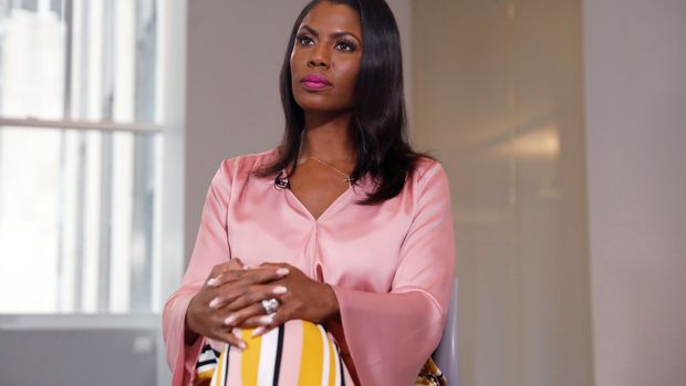 "Former U.S. White House staffer Omarosa Manigault-Newman sits during an interview on the release of her book ""Unhinged"" in Manhattan, New York, U.S., August 14, 2018.  REUTERS/Shannon Stapleton"