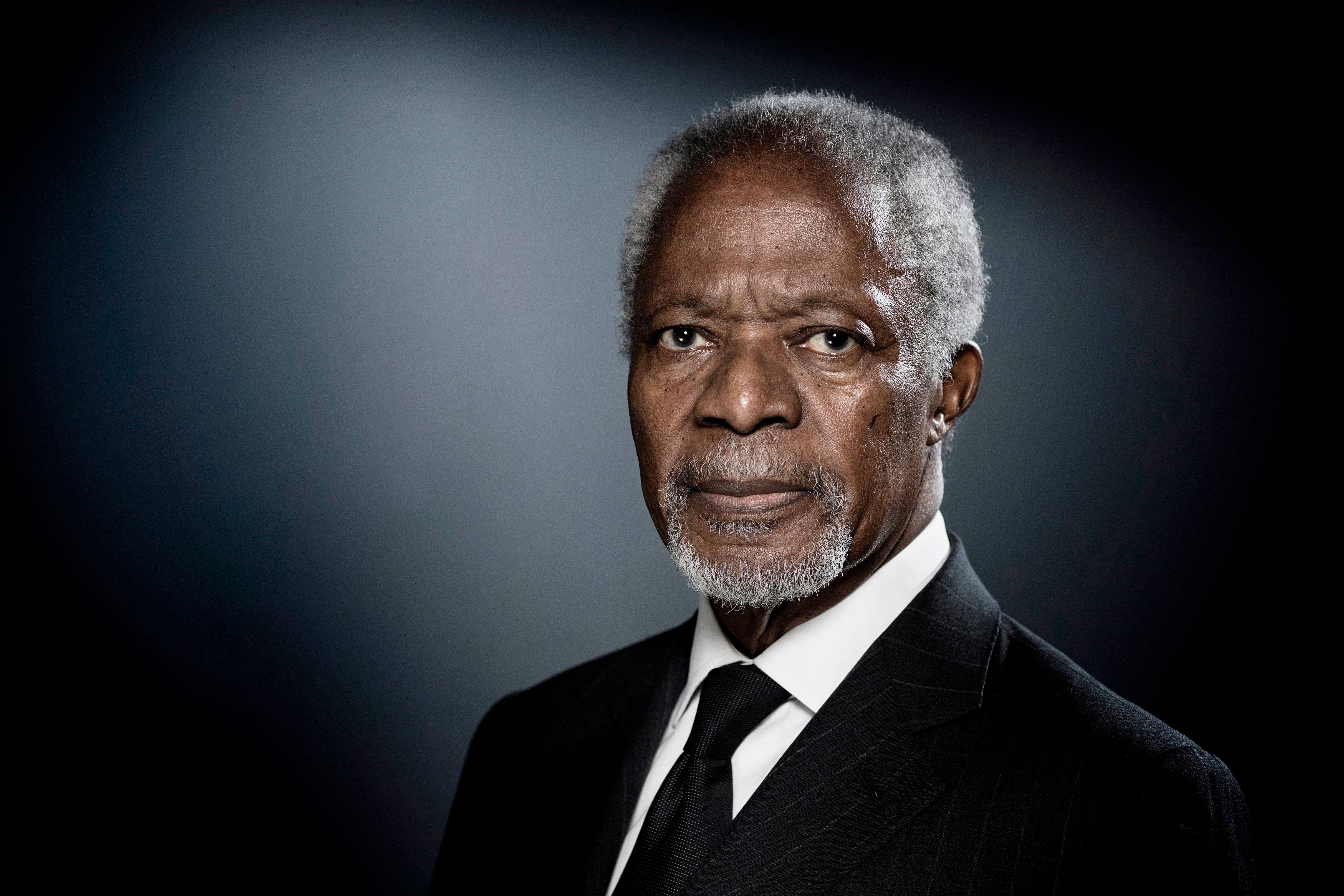Former United Nations (UN) secretary-general Kofi Annan poses during a photo session in Paris on December 11, 2017. / AFP PHOTO / JOEL SAGET        (Photo credit should read JOEL SAGET/AFP/Getty Images)
