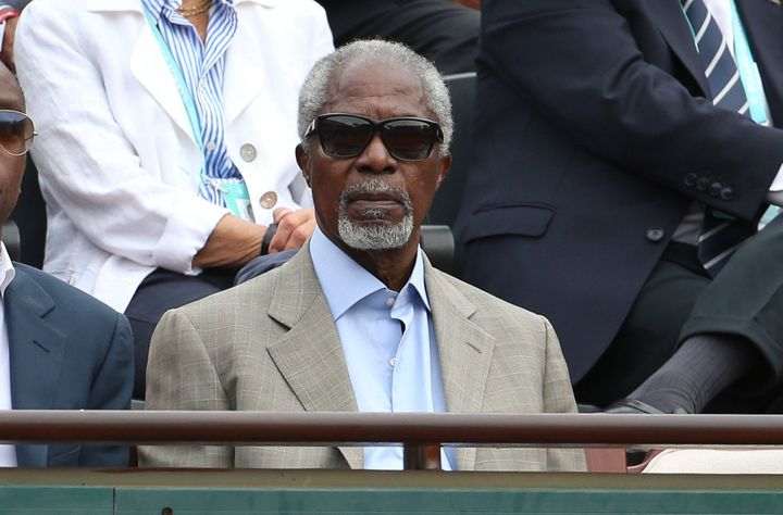 Kofi Annan, former United Nations secretary-general, attends the 2018 French Open.