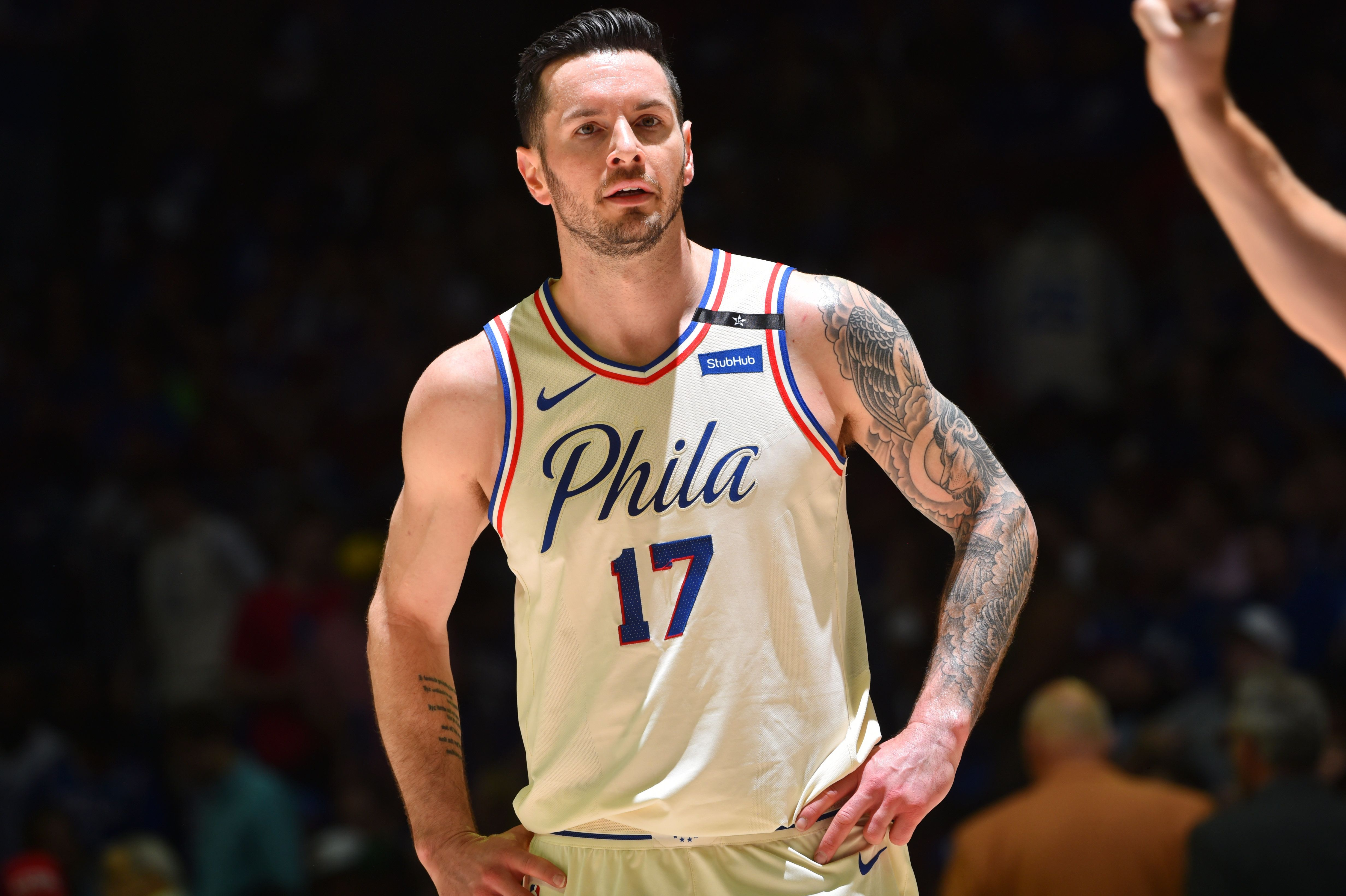 PHILADELPHIA, PA - May 5: JJ Redick #17 of the Philadelphia 76ers looks on against the Boston Celtics  during Game Three of the Eastern Conference Semi Finals of the 2018 NBA Playoffs on May 5, 2018 in Philadelphia, Pennsylvania NOTE TO USER: User expressly acknowledges and agrees that, by downloading and/or using this Photograph, user is consenting to the terms and conditions of the Getty Images License Agreement. Mandatory Copyright Notice: Copyright 2018 NBAE (Photo by Jesse D. Garrabrant/NBAE via Getty Images)