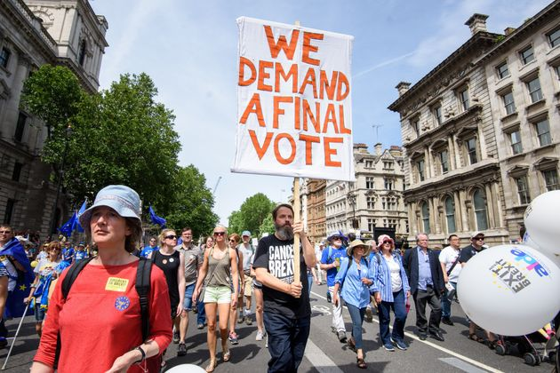 Anti-Brexit demonstrators fill Parliament Square in central London, during the People's Vote march, in June.