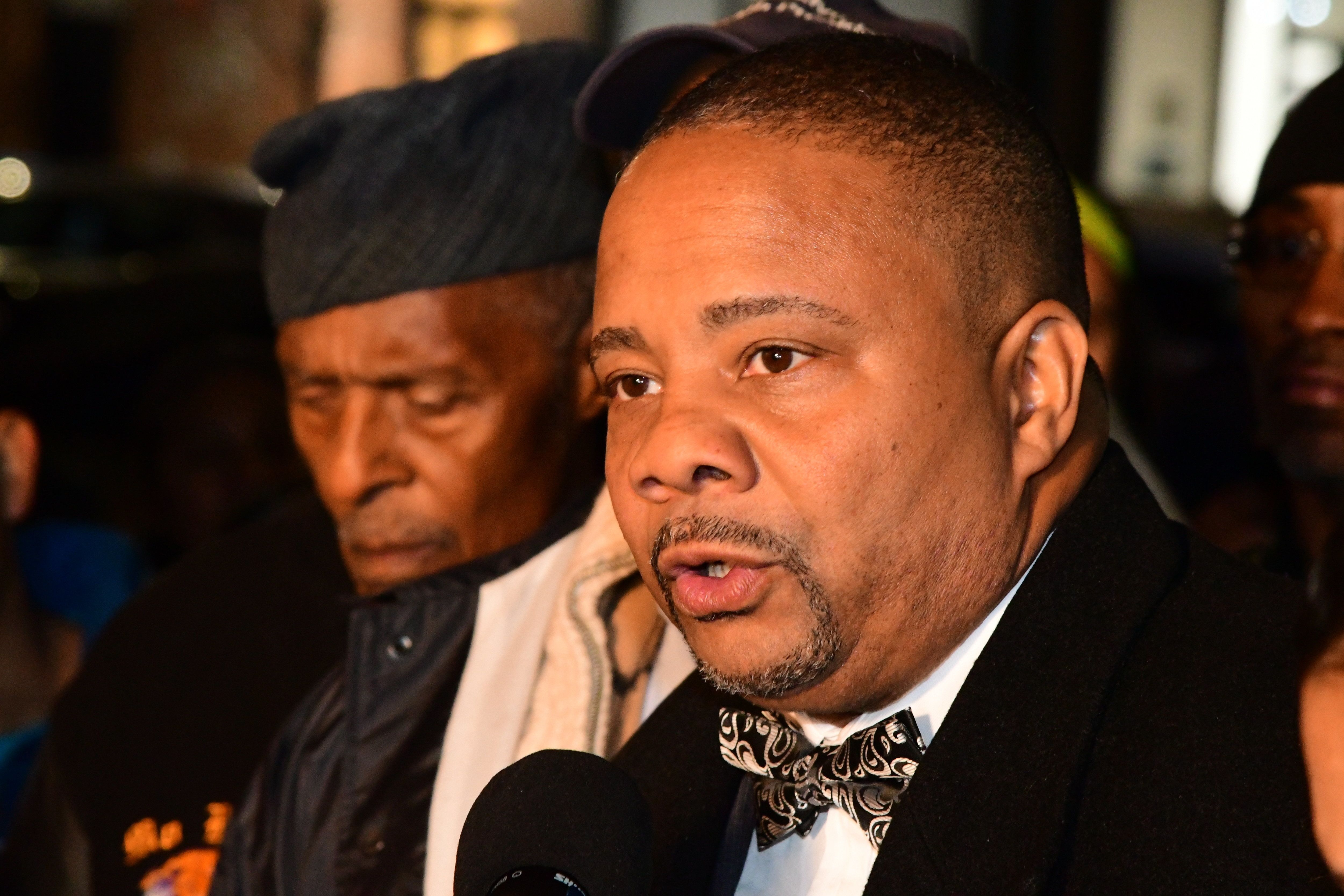 SUNSET PARK, BROOKLYN, NEW YORK, UNITED STATES - 2017/11/27: State Senator Jesse Hamilton. Brooklyn Borough President Eric Adams joined other elected officials, community leaders and safety advocates at the site where Guatemalan immigrant & delivery boy Edwin Ajacalon was struck & killed by a motorist. Ajacalon's family collected donations to return his body to Guatemala for burial after a white memorial 'ghost bike' was put into place by Transportation Alternatives. (Photo by Andy Katz/Pacific Press/LightRocket via Getty Images)