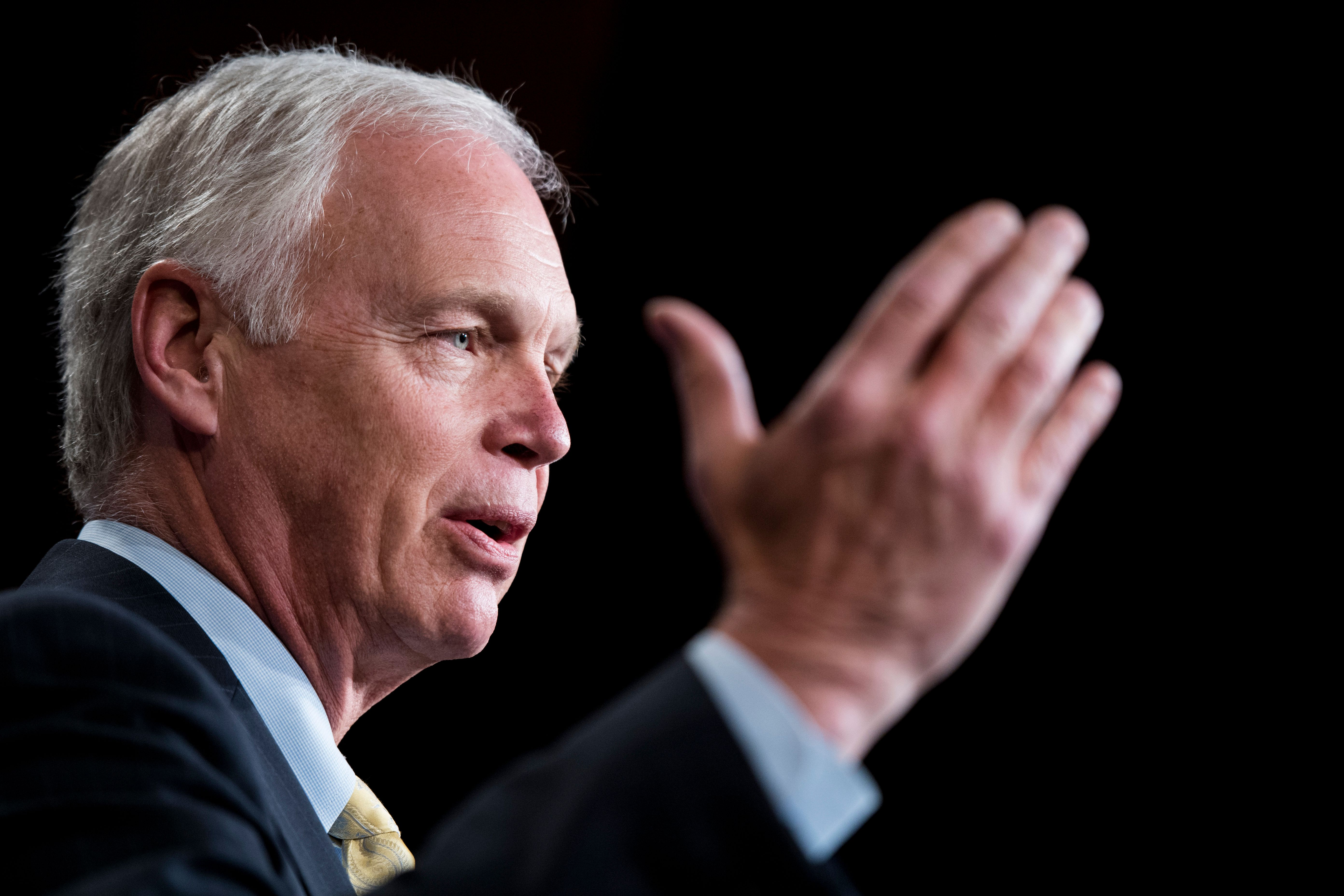 UNITED STATES - JUNE 19: Sen. Ron Johnson, R-Wisc., speaks during the Senate Republicans' news conference in the Capitol on Tuesday, June 19, 2018, to call on the Senate to vote on the rescissions package. (Photo By Bill Clark/CQ Roll Call)