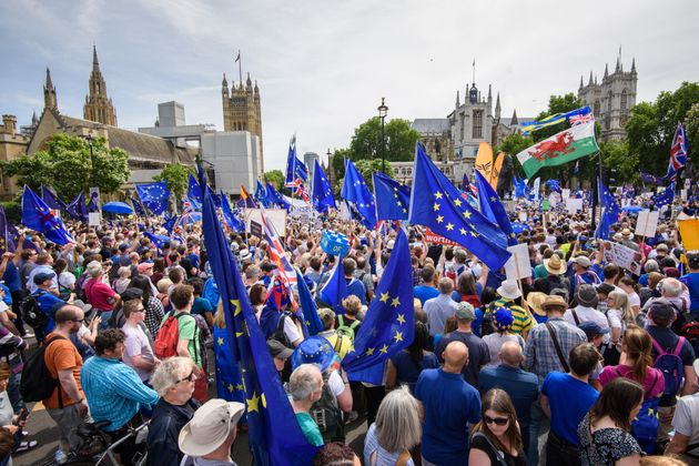 Anti-Brexit demonstrators fill Parliament Square in central London during the People's Vote march in June.