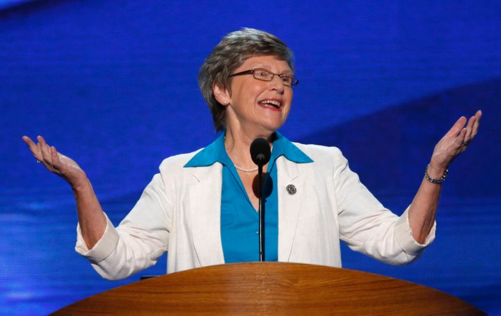Sister Simone Campbell, the leader of the Nuns on the Bus, spoke at the 2012 Democratic National Convention.