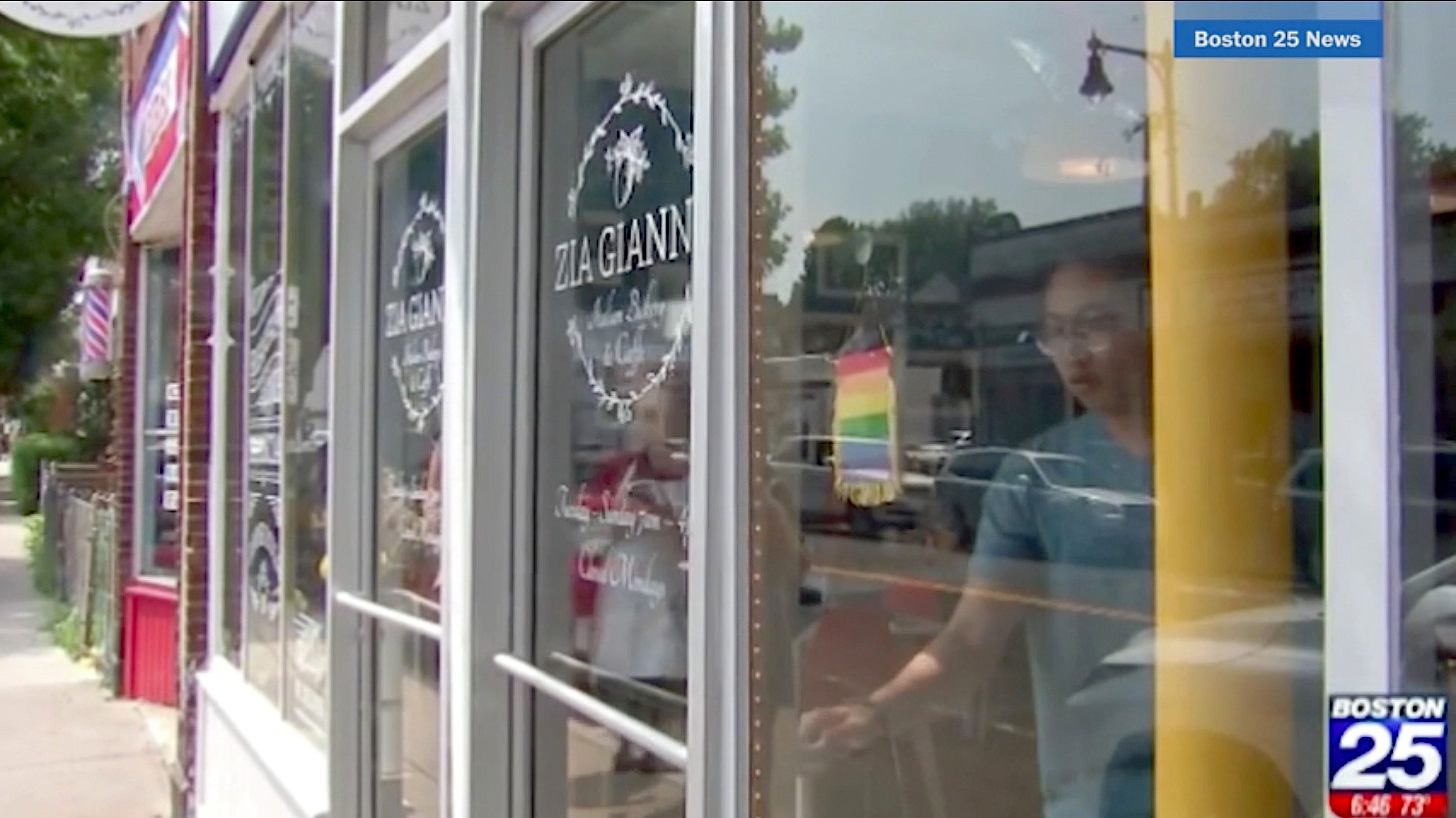 The restaurant Zia Gianna was criticized on Yelp for hanging a small gay pride flag in its window