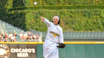 CHICAGO, IL - AUGUST 18: Marian Catholic High School's Sister Mary Jo Sobieck throws out the ceremonial first pitch before the game between the Kansas City Royals and the Chicago White Sox on August 18, 2018 at Guaranteed Rate Field in Chicago, Illinois.  (Photo by Quinn Harris/Icon Sportswire via Getty Images)