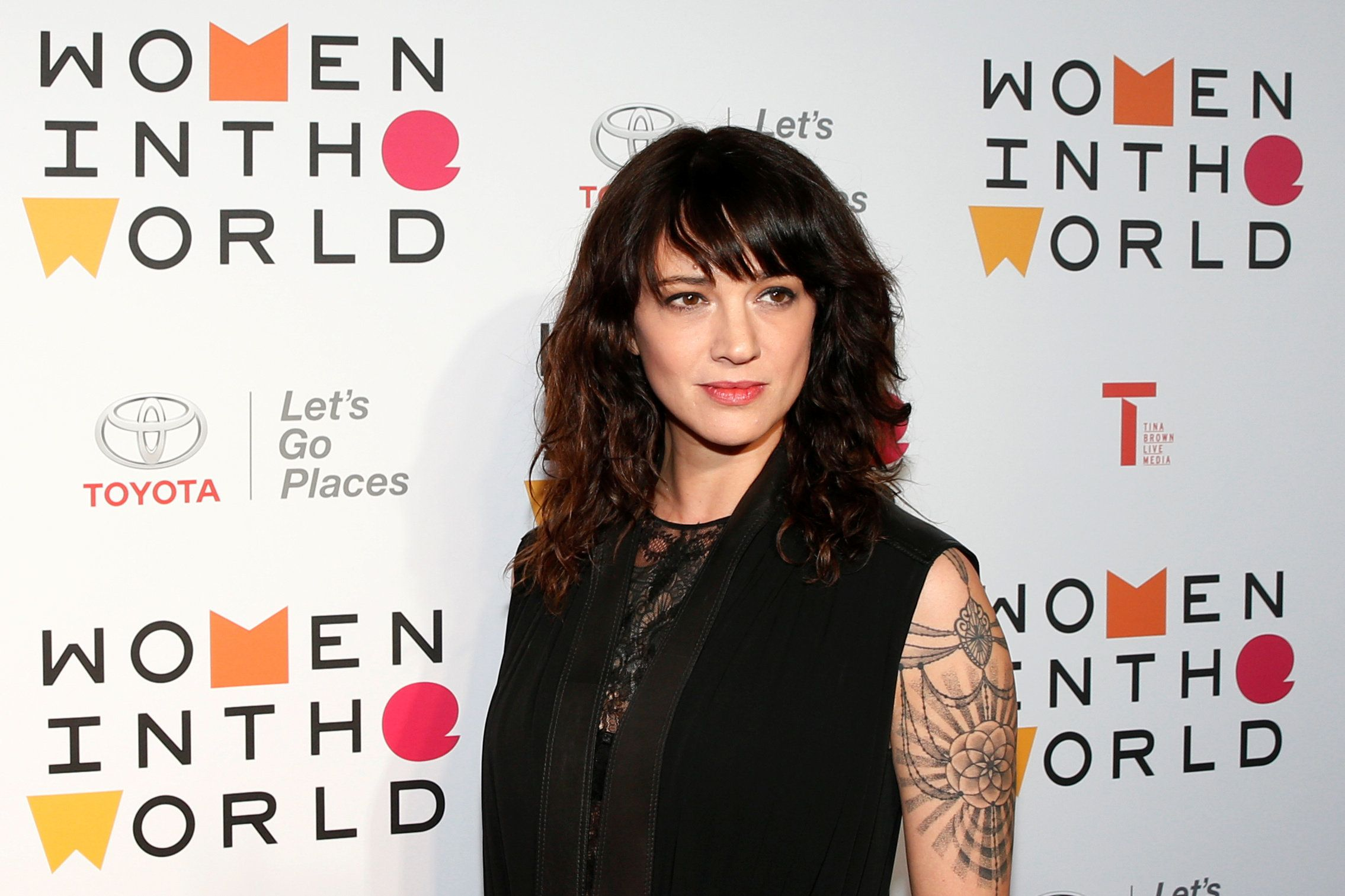 Asia Argento arrives for the Women In The World Summit in New York City, U.S., April 12, 2018. REUTERS/Brendan McDermid