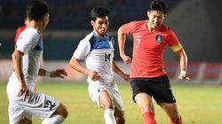한국과 키르기스스탄이 0-0으로 전반전을