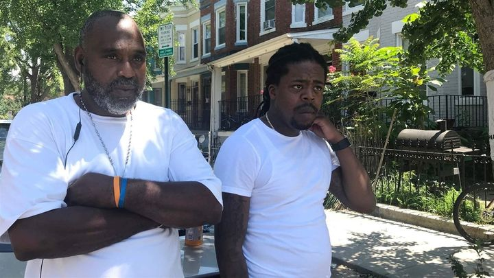 Maurice, left, and Diante, right, who did not want their last names used, talk outside the Park Morton public housing facilit