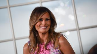 US First Lady Melania Trump attends a dinner with the US president and business leaders in Bedminster, New Jersey, on August 7, 2018. (Photo by Brendan SMIALOWSKI / AFP)        (Photo credit should read BRENDAN SMIALOWSKI/AFP/Getty Images)