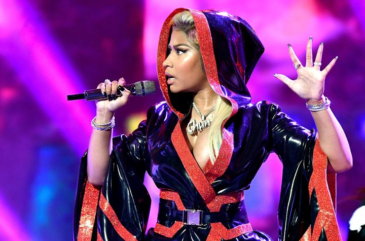Nicki Minaj performs onstage at the 2018 BET Awards.