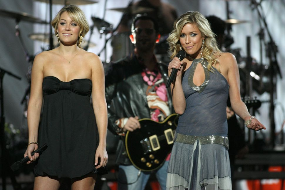 "Lauren 'LC' Conrad and Kristin Cavallari introduce INXS's performance at VH1's ""Big in '05"" show."