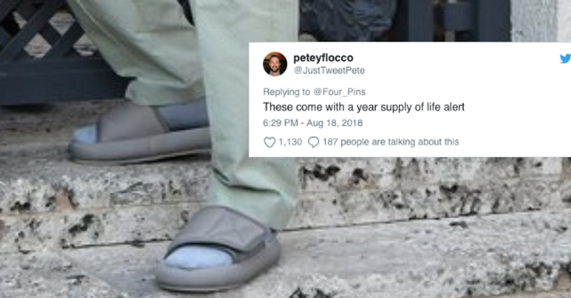 1f49617cb2c Twitter Roasts Kanye West For Wearing Super Small Yeezy Slides ...