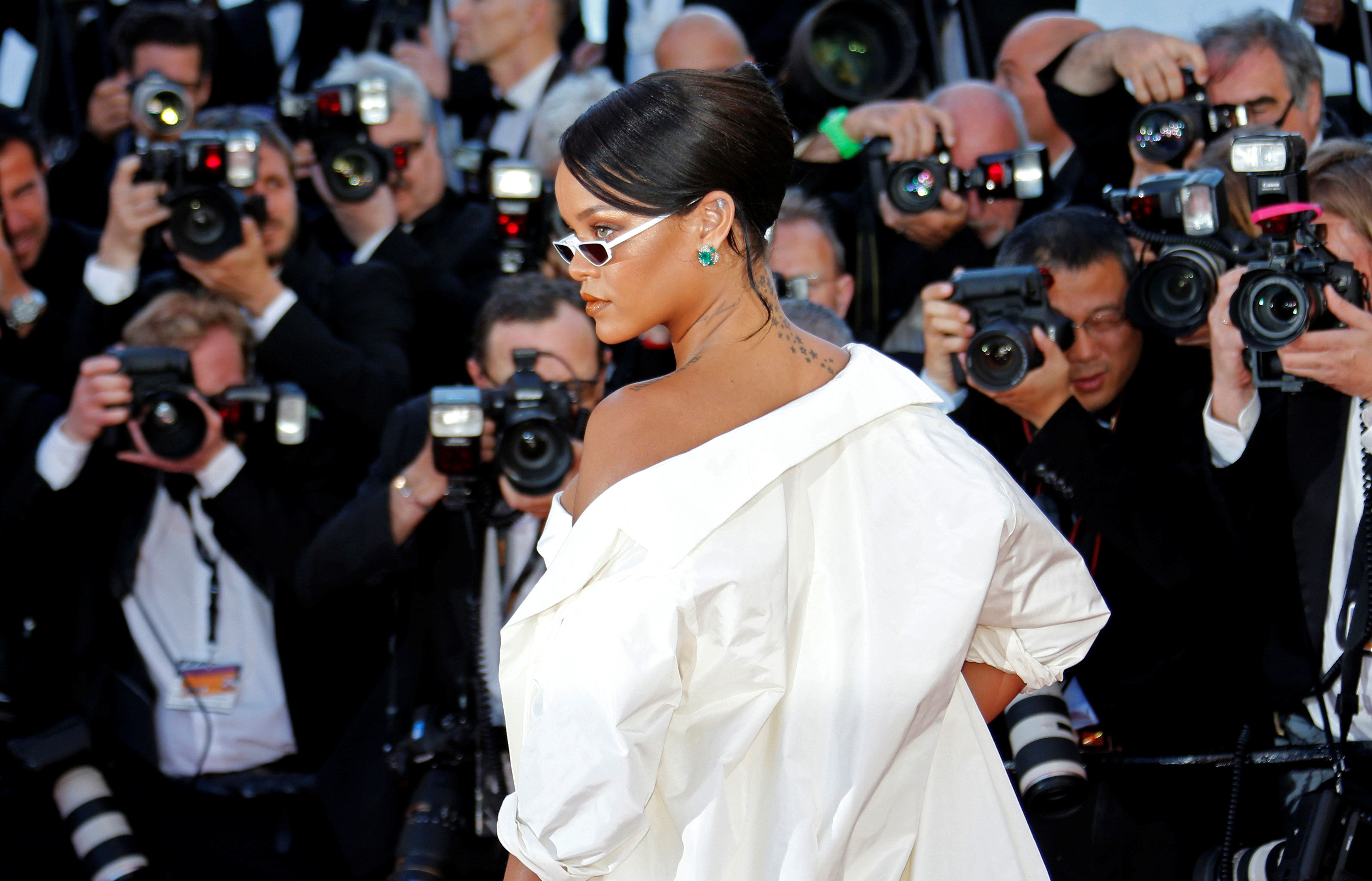 "70th Cannes Film Festival - Screening of the film  ""Okja"" in competition - Red Carpet Arrivals - Cannes, France. 19/05/2017. Singer Rihanna poses. REUTERS/Jean-Paul Pelissier"