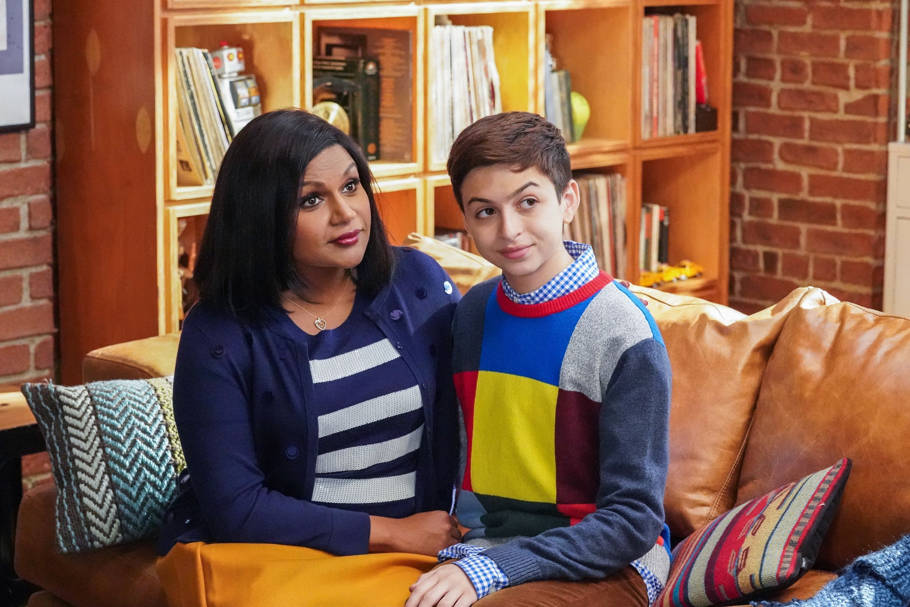 CHAMPIONS -- 'Opening Night' Episode 109 -- Pictured: (l-r) Mindy Kaling as Priya, J.J. Totah as Michael -- (Photo by: Evans Vestal Ward/NBC/NBCU Photo Bank via Getty Images)