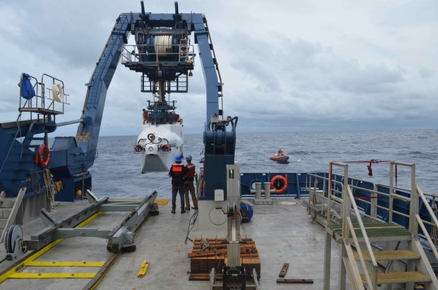 The deep-sea submersible Alvin is launched from R/V Atlantisoff the coast of Delaware on Monday....
