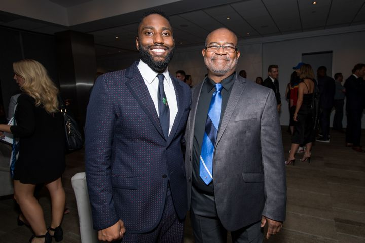 "Washington and Ron Stallworth at the ""BlacKkKlansman"" Los Angeles premiere on Aug. 8."