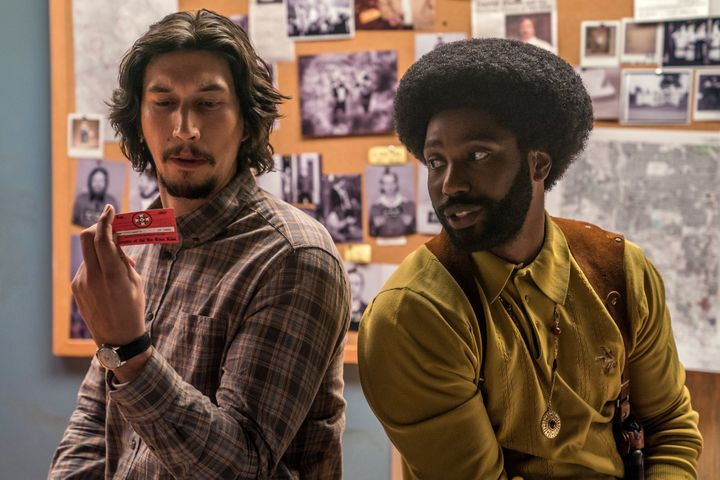 "Adam Driver and Washington in ""BlacKkKlansman."""