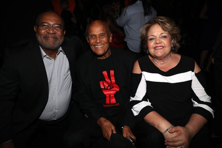 "Ron Stallworth and his wife, Patsy Stallworth, flanking Harry Belafonte at the ""BlacKkKlansman"" premiere in New Y"