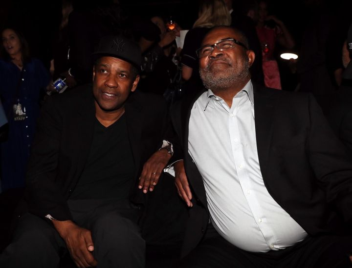 "Denzel Washington and Stallworth at the ""BlacKkKlansman"" New York premiere, July 30."