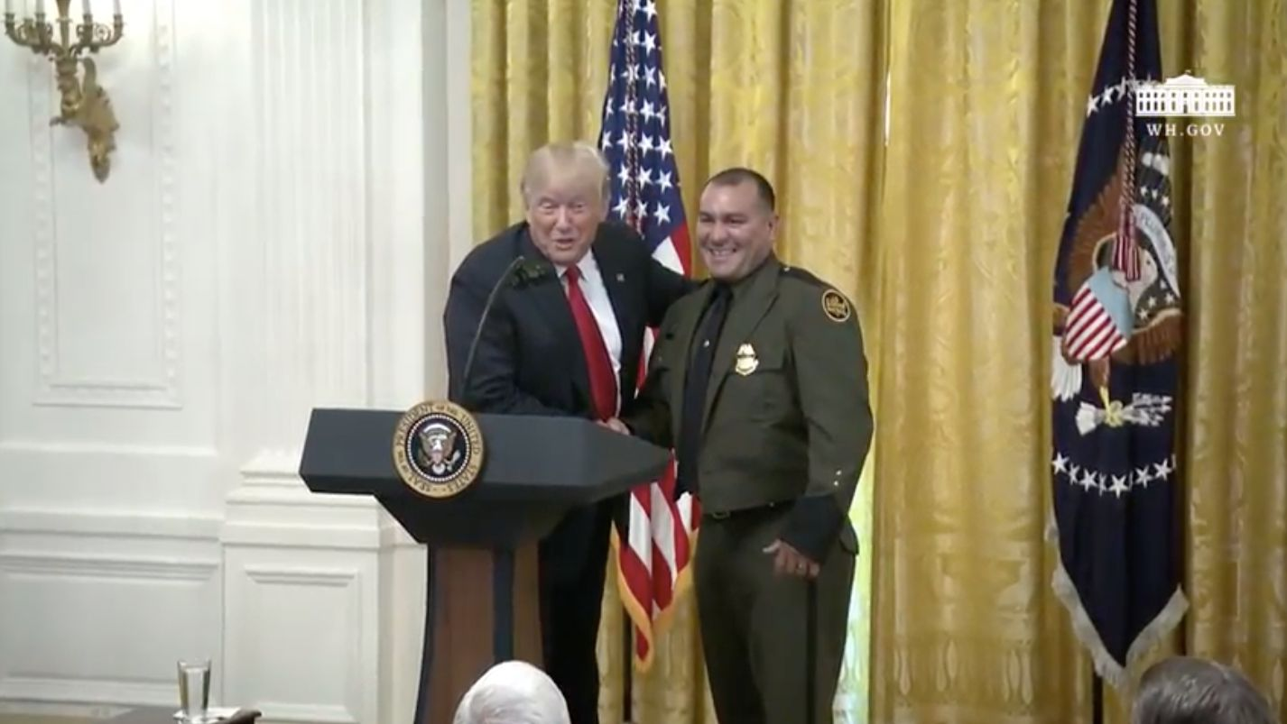 President Donald Trump recognized the work of border patrol agent Adrian Anzaldua at the White House on Monday.