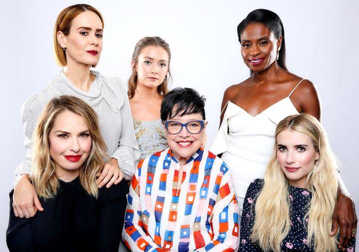 "Sarah Paulson, Billie Lourd, Adina Porter (Front L-R) Leslie Grossman, Kathy Bates and Emma Roberts of FX's ""American Horror"