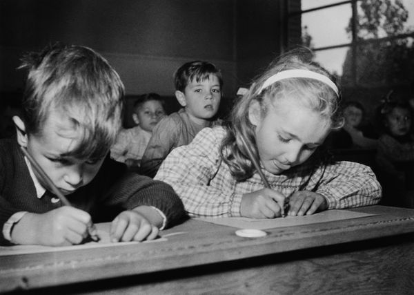 Children hard at work on Sept. 15, 1959.