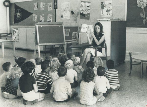 Canadian kindergarten teacher Trisha Langley teaching her first lessons on Sept. 7, 1971.